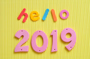 Hello 2019 on a yellow background