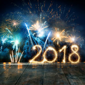 Sparkler New Year 2018 With Fireworks On Wooden Floor