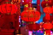 red lanterns in chinese new year
