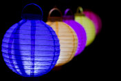 Colorful lampions lantern in the dark of night