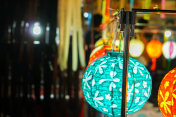 Colorful Chinese paper lantern hanging show for tourists at lantern festival.