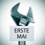adjustable wrench with text erste mai, may day in german