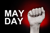 raised fist and text may day