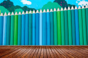 Color pencil wall, hand-painted walls,