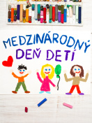 Colorful drawing: Children's day card  with  Slovak words Children's day.