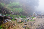 wet tent in rainforest on hill in Tiantouzhai