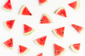 Watermelon pattern. Sliced watermelon on white background. Flat lay