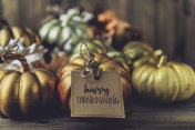 Thanksgiving background with metallic pumpkins