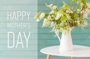 White flowers in a vase, Mother's day concept