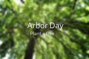 Arbor Day gretting with blurred background image of tall tree