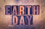Earth Day Theme Letterpress Word on Wood Background