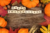 Happy Thanksgiving wooden blocks with autumn frame