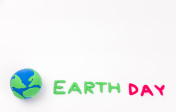 earth simulation and earth day word on white background, earth day concept