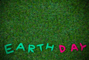 earth day word on grass background, earth day concept