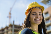 Close up of a female engineer at construction site