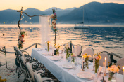 Wedding dinner by the sea. Wedding banquet at the sea. Donja Las