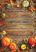 Harvest or Thanksgiving background with gourds and straw