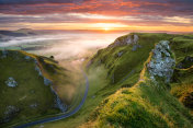 Winding Road At Sunrise In The Peak District.