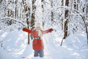 Girl throwing snow up