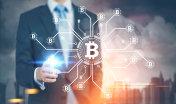 Glowing finger businessman, bitcoin network