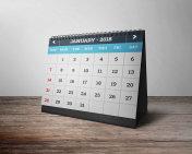 Table calendar with mockup