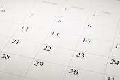 Close-up shot of a blank calendar with calendar date