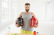 Man with dry sports nutrition