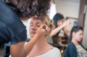 Airbrush makeup and hairdressing salon: Applying makeup