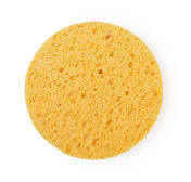 Yellow sponge circle shape cleansing puff for face or cleaning