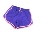 Female workout shorts on a white background.