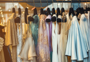 Colorful clorhes on racks in a fashion boutique