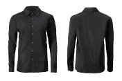 Black color formal shirt with button down collar isolated on white