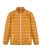 Orange men sport ski winter down jacket isolated white