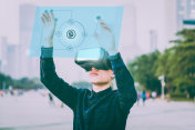 Businessman using futuristic VR via AI
