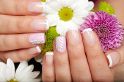 Hands with french manicured nails and flowers