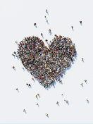 Human Crowd Forming A Big Heart Shape: Love and Donation Concept