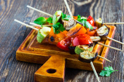 Fresh summer vegetable kebabs  with eggplant and cherry tomatoes