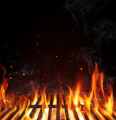 Grill Barbecue Background - Empty Grate With Flames On Black
