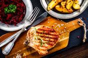 Grilled pork chop and vegetables