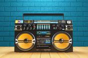 Musical tape player recoreder. Vintage radio FM player