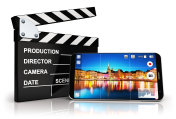 Smartphone with camera app and clapper board