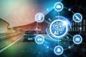 AI(Artificial Intelligence and automotive technology. Autonomous car.