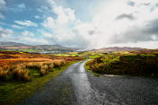 Irish landscape in County Donegal with a bright blue sky and sunshine
