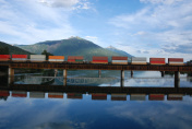 Canadian train on a railwaybridge