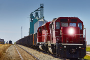 Red Agricultural Freight Train