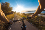 POV Bicycle Riding on road