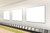 Blank advertising poster on subway station