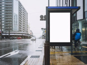 Mock up Banner template at Bus Shelter Media outdoor street