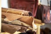leather materials on studio office shelf