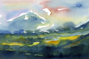 watercolor  landscape with mountains  painting